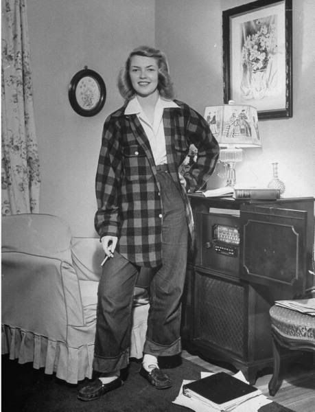 1940s teenager in Pendleton wool shirt. We won't apologize for the cigarette, because everyone smoked in the 1940s, including doctors while they performed surgery.
