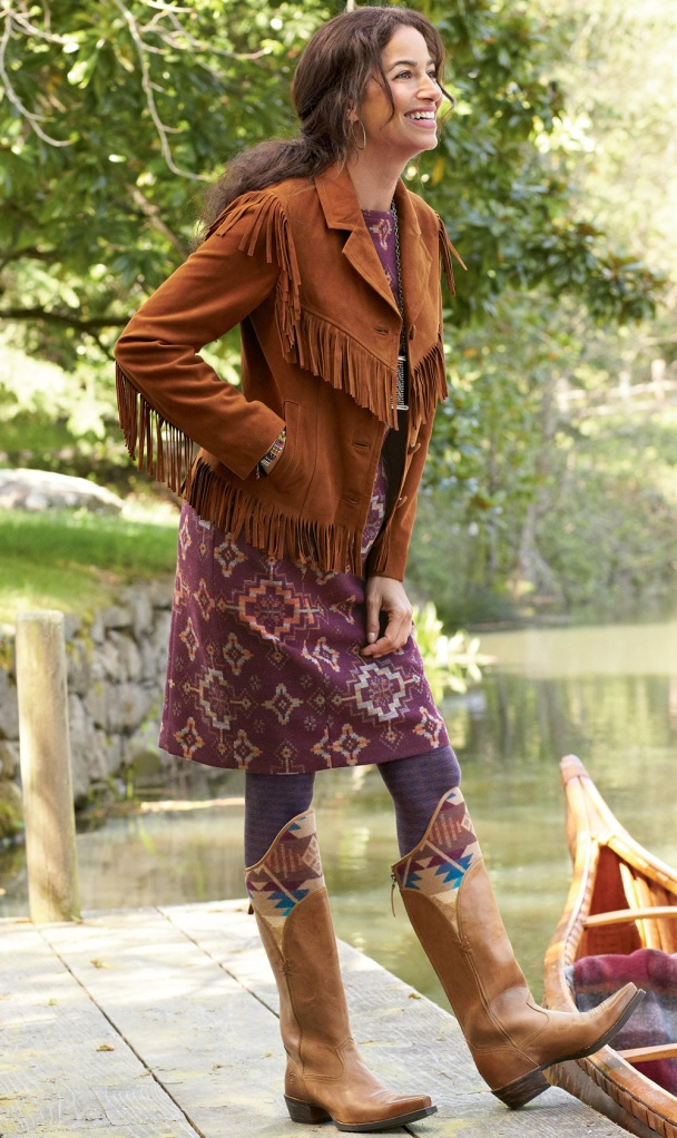 Image courtesy pendleton-usa.com of woman in Ariat x pensleton boots