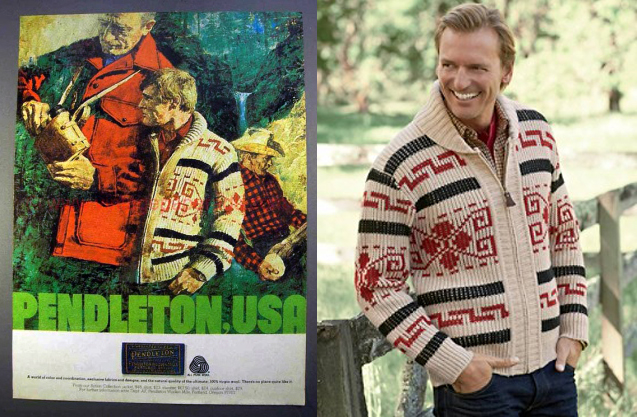 A collage of two photos--one is an ad run by Pendleton in the 1980s that features the tan, red and black version of the Westerley. Next to it is a Pendleton promo photo of a man wearing a remake of this version, leaning against a fence.