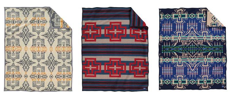 3 blankets; Arrowhead, Compass Stripe, North Star