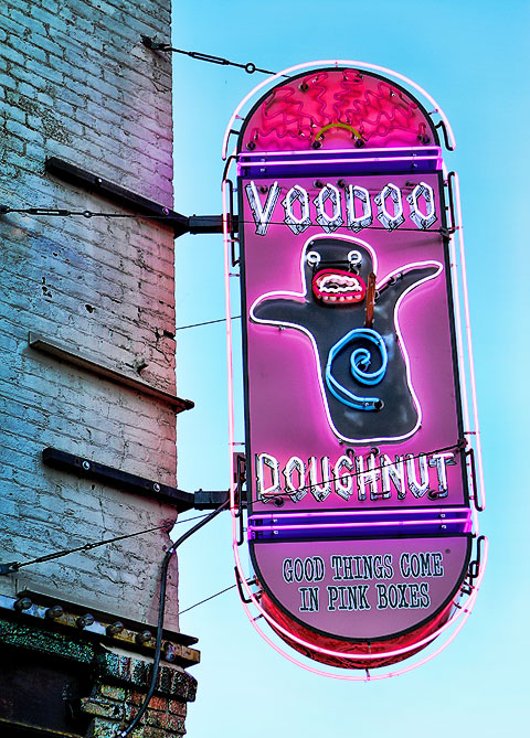 Neon sign for Voodoo Doughnut