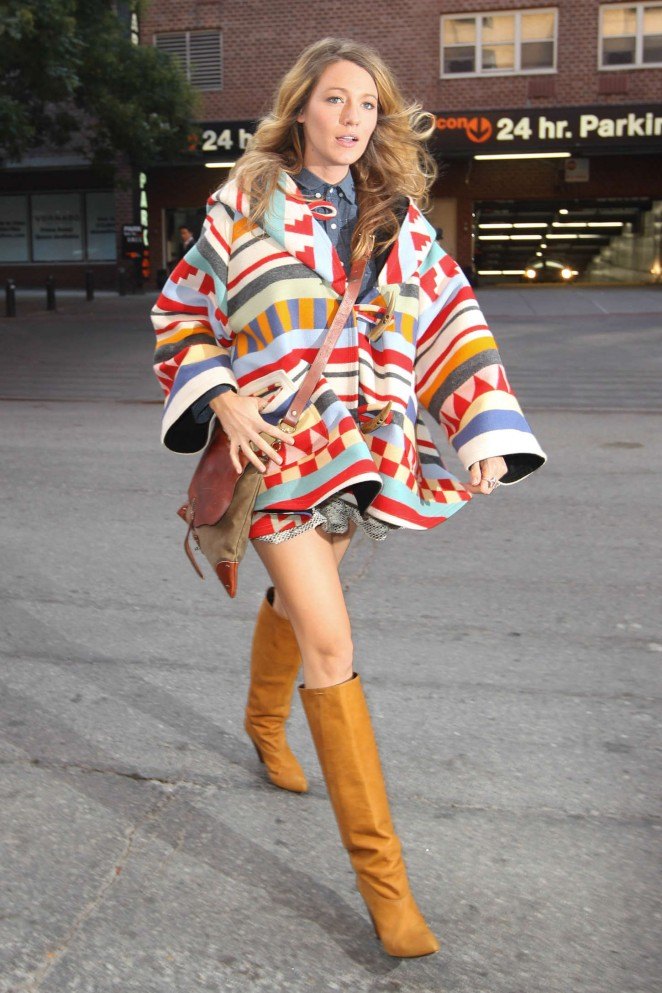 in other style news  blake lively in lindsey thornburg x pendleton cape