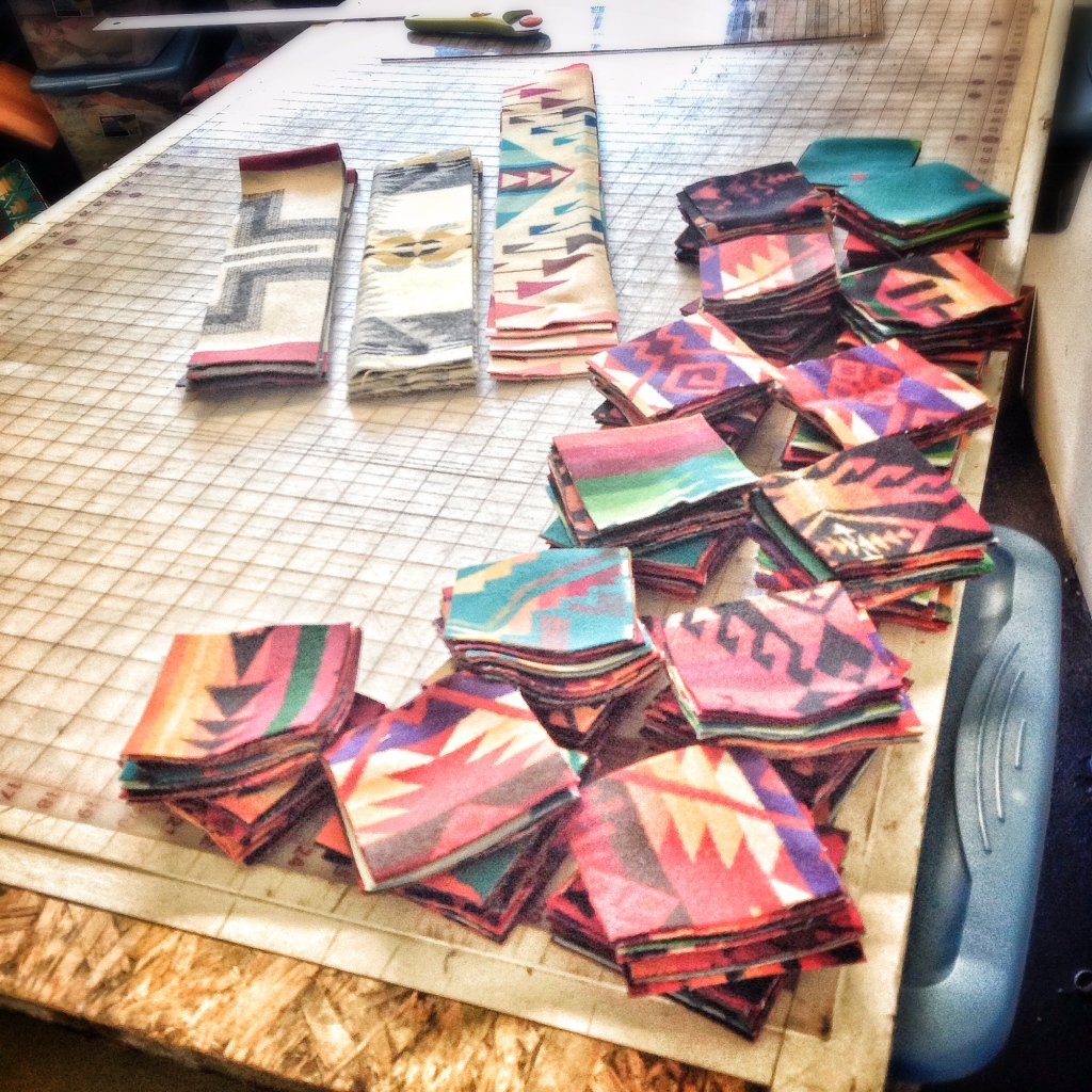 Quilt strips and squares: photo of Luke Haynes process for the Pendleton wool quilt.