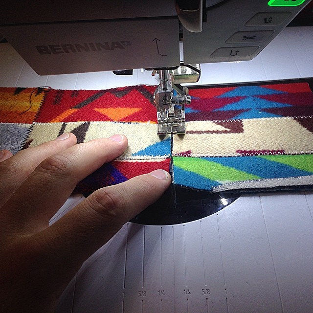 Sewing strips: photo of Luke Haynes process for the Pendleton wool quilt.