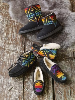 2014 collaboration of UGG Australia and Pendleton Woolen Mills; sheepskin and wool slippers and boots