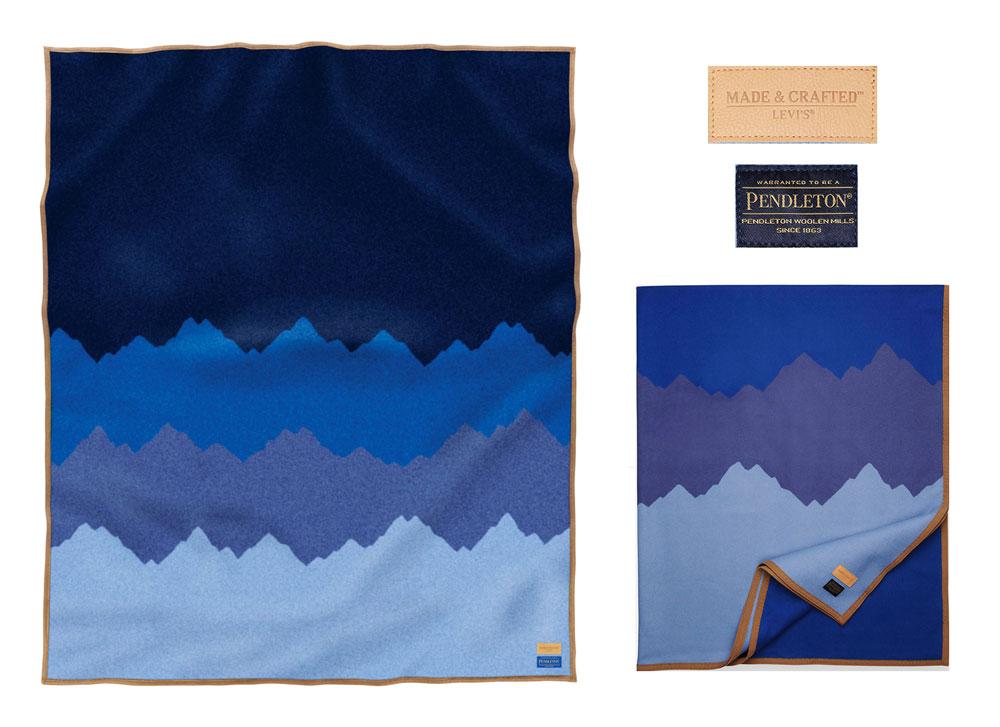 The Levi's x pendleton blanket, flat and folded