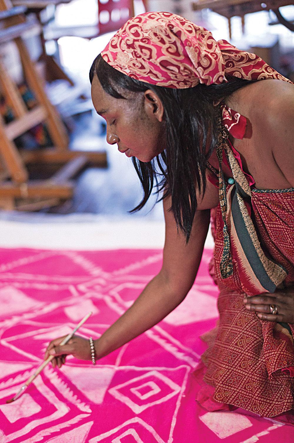 Trisha Langman doing batik in her studio
