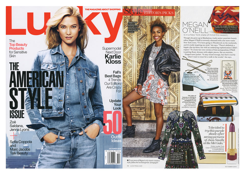 web_lucky_10_14 Lucky Magazine spread featuring several Pendleton blankets