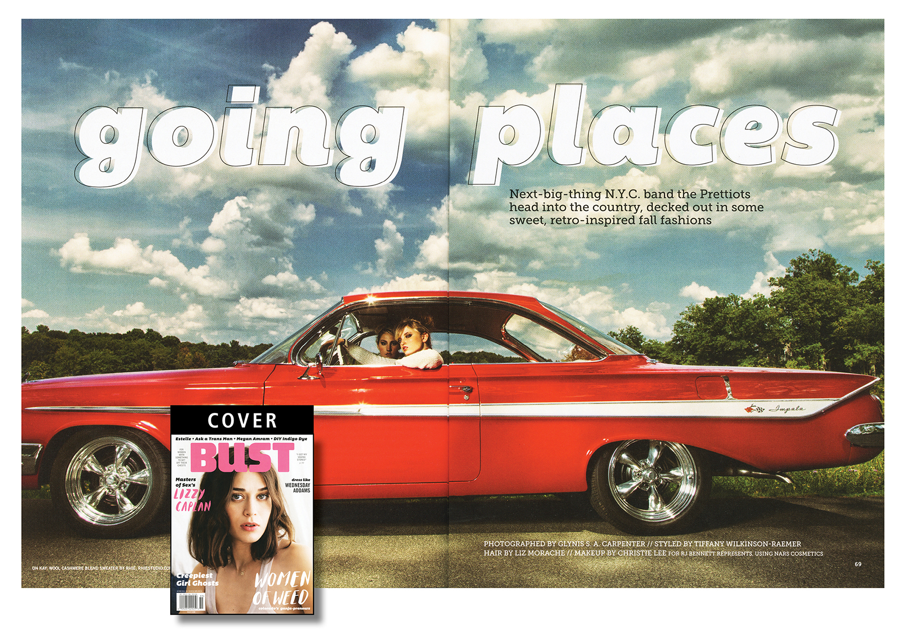 November 2014 photo spread from Bust magazine with vintage Impala.