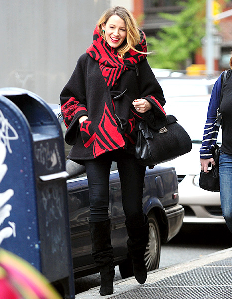 Blake Lively in the Raven cloak