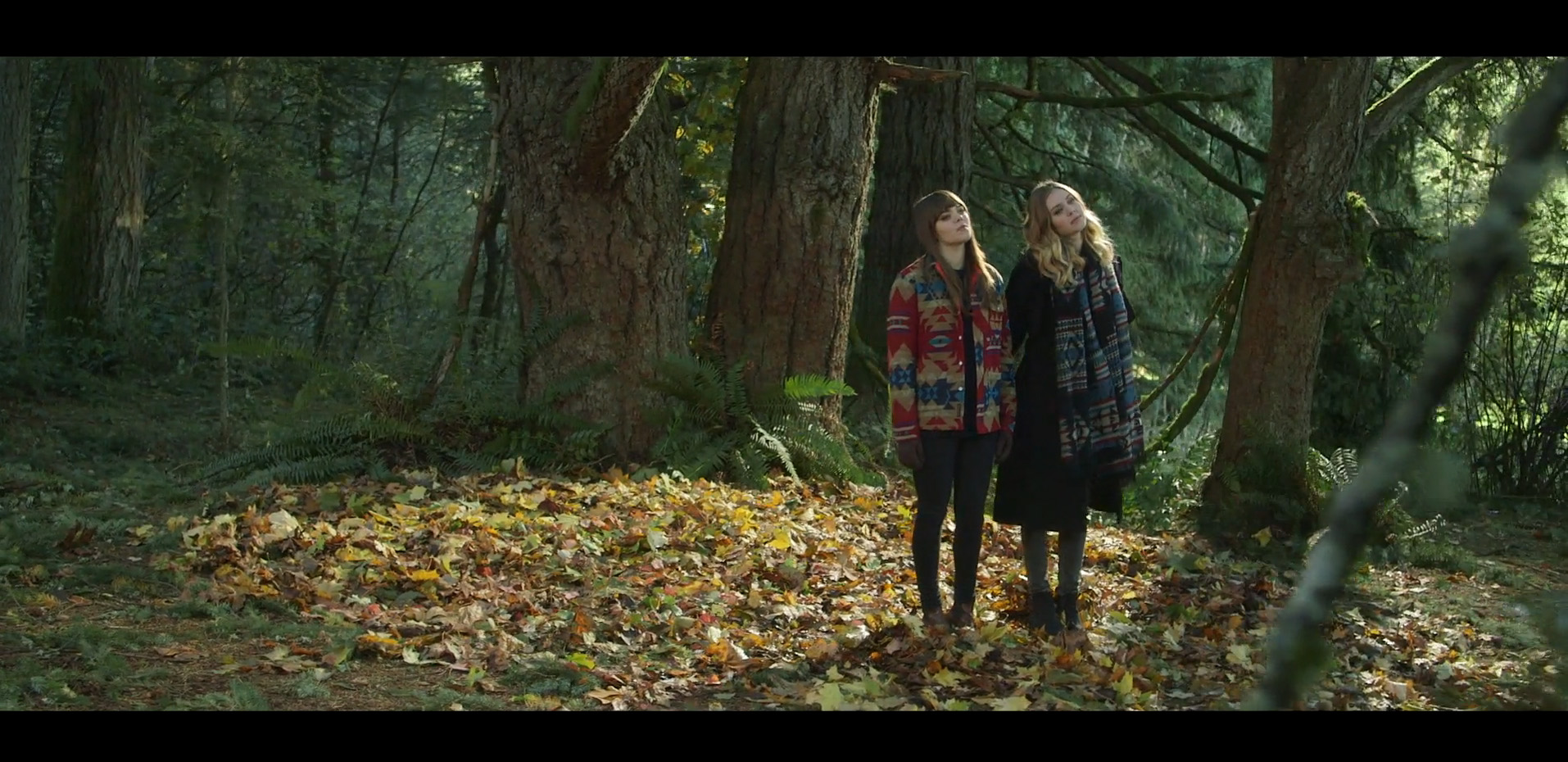 First Aid Kit screenshot of band members standing in the forest.