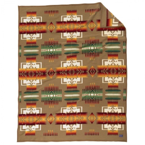 A khaki color Chief Joseph blanket by Pendleton.
