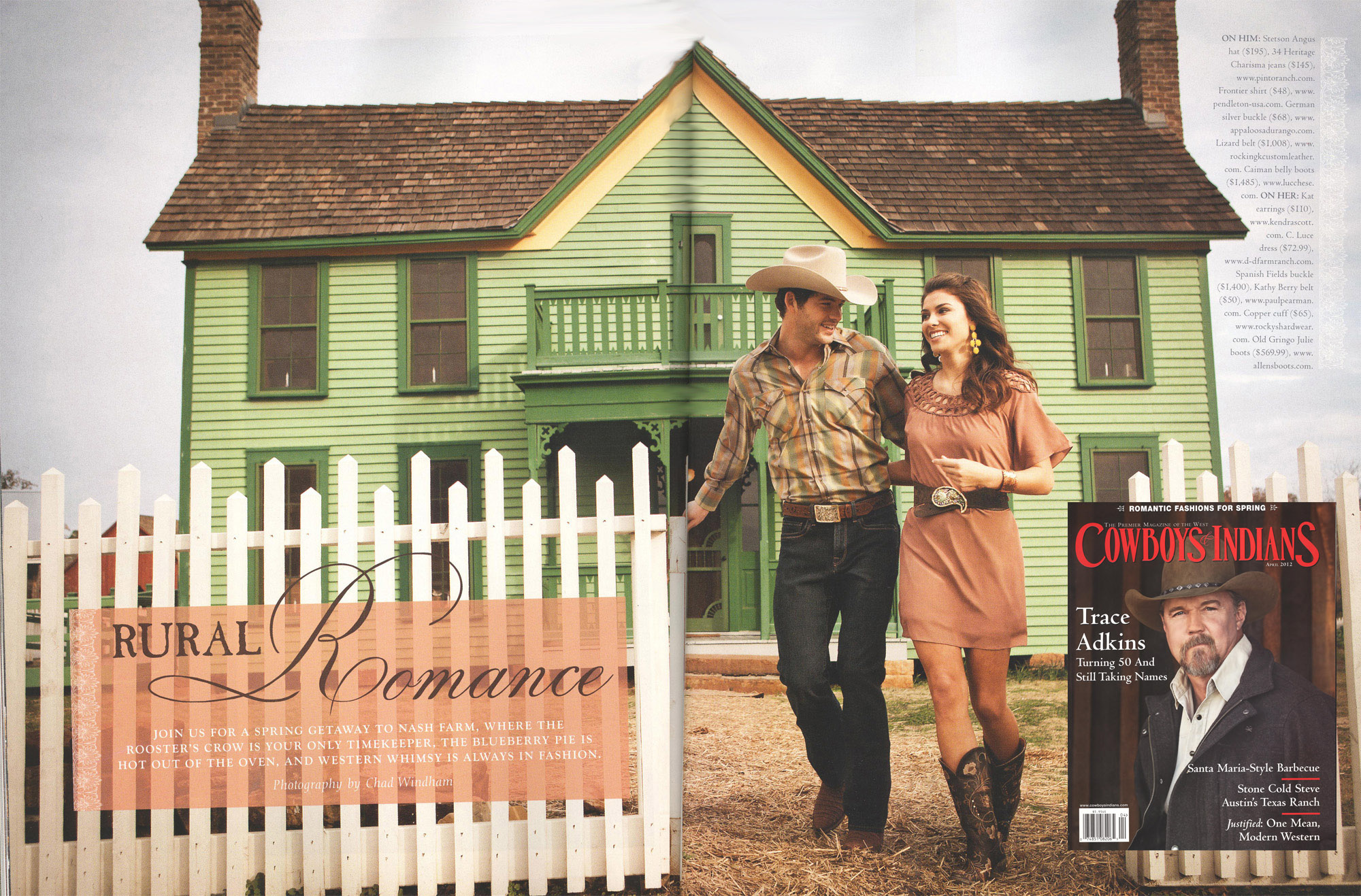 Cowboys & Indians Spring fashion shoot - a couple smiling in front of a green farmhouse