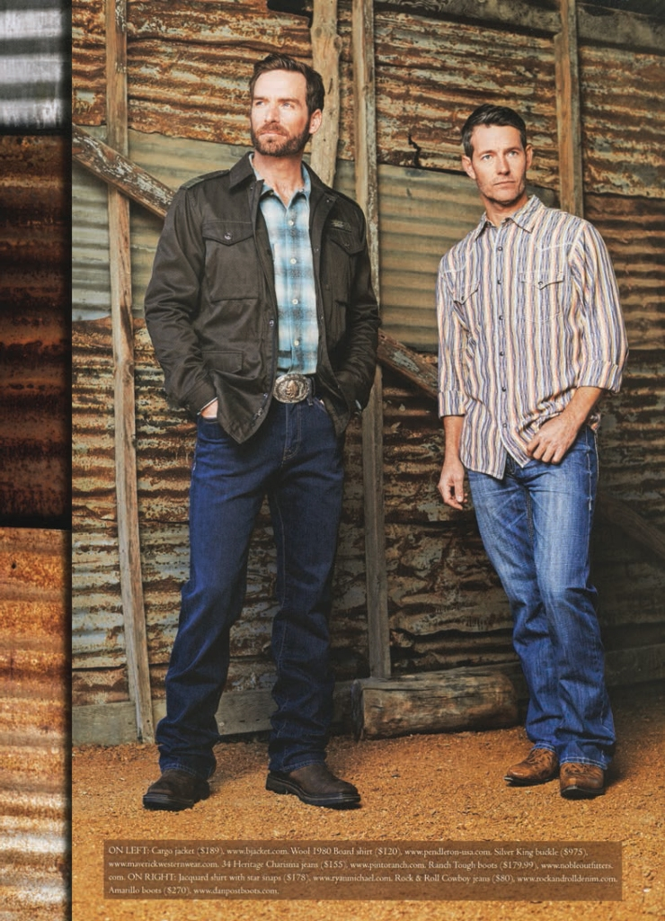Cowboys & Indians Spring fashion shoot - two men in Western shirts standing in a barn