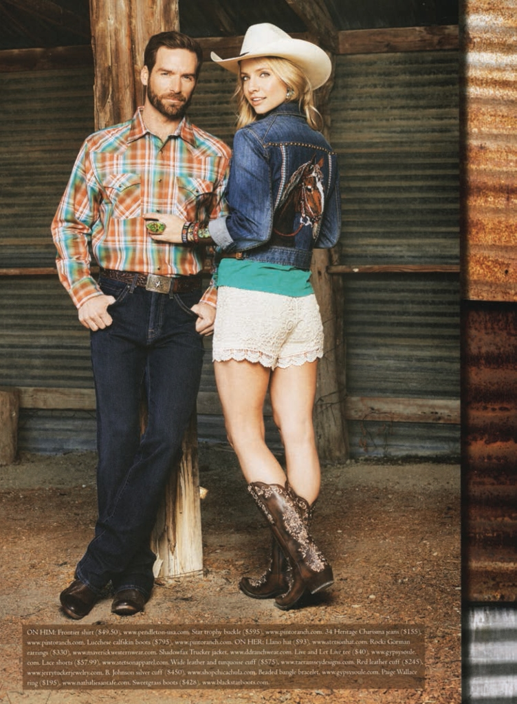 Cowboys & Indians Spring fashion shoot - Couple in barn, man has on a Pendleton Frontier shirt
