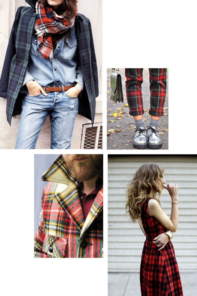tartan fashions - scarf, pants, jacket, dress
