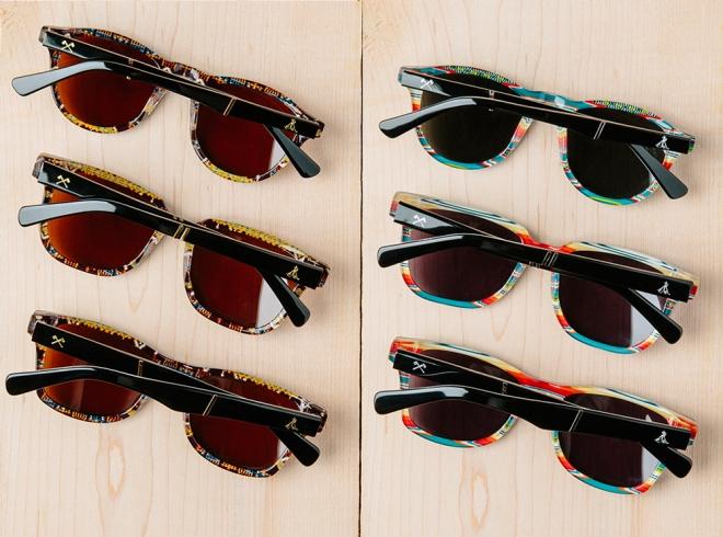 Six pair of Shwood x Pendleton sunglasses on a tabletop