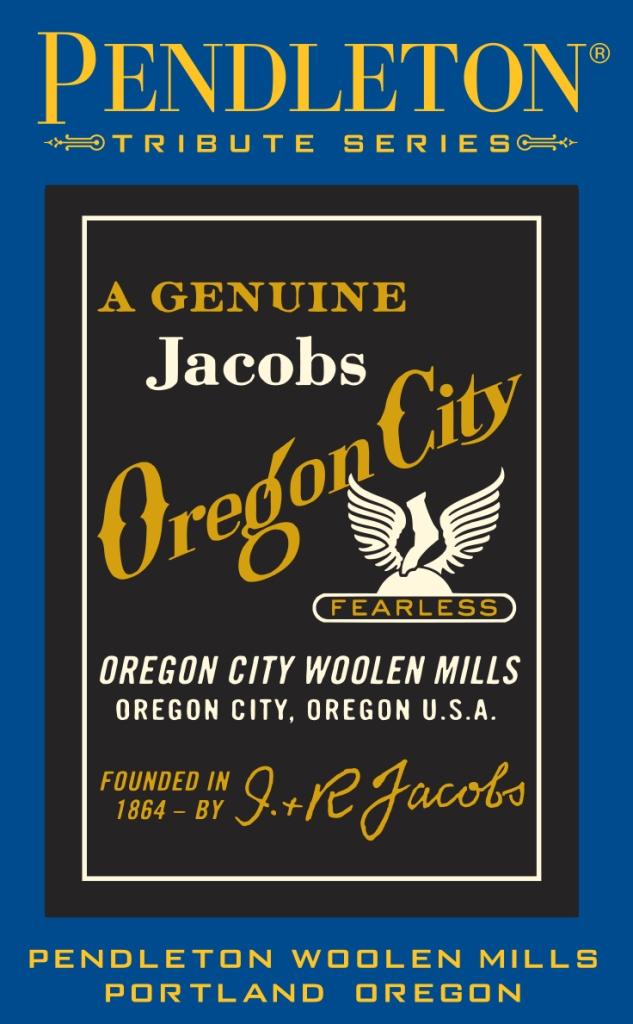 Pendleton tribute series label for Oregon City Woolen Mill