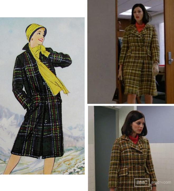 Megan Draper in a plaid coat and a Pendleton ad