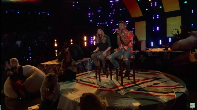 Pharrell and Sawyer on stage at The Voice