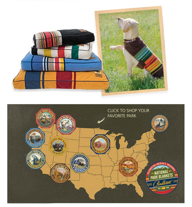 Collage of pendleton Pet products and map of Pendleton parks.