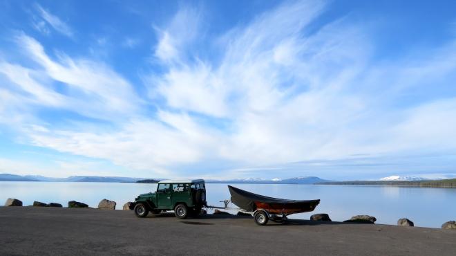 Greg's rig and boat at Yellowstone Lake