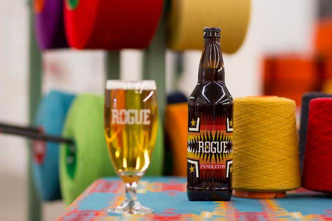 Pendleton x Rogue Ales collaboration beer in the pendleton Woolen Mill