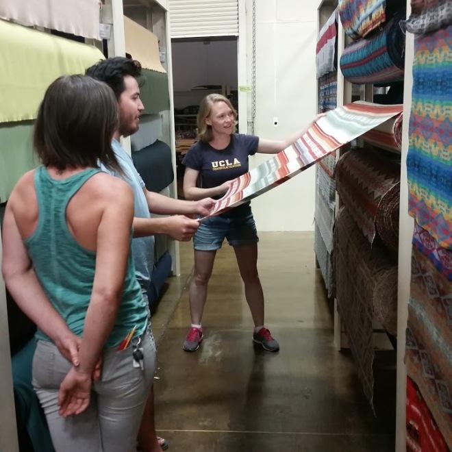 choosing fabric at the Pendleton Woolen Mill Store in Milwaukie, Oregon