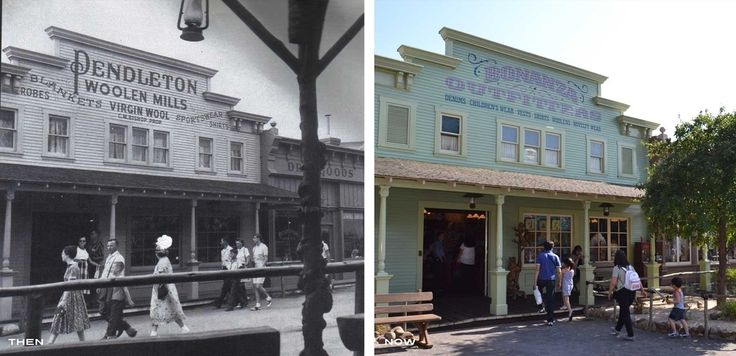 "A side-by-side collage of two shots of the building that housed the Pendleton store in Frontierland - one from the 1950s, when it was still Pendleton's, and one that shows its conversion to ""Bonanza Outfitters."""