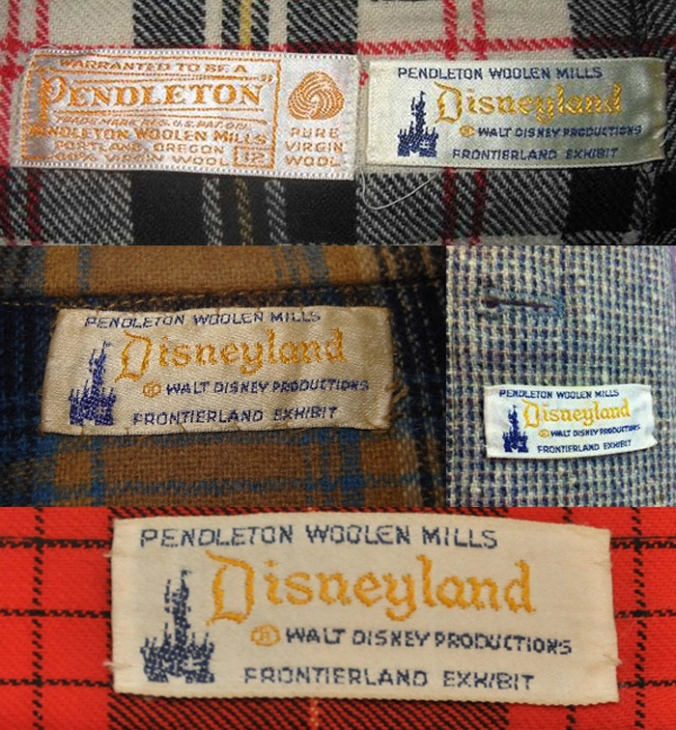 "A collage of Pendleton labels that feature the spires of Cinderella's castle and these words: Pendleton WOolen Mills Disneyland (r)alt Disney Productions Frontierland exhibit."" This is a special label for products sold at the Pendleton DIsneyland store."