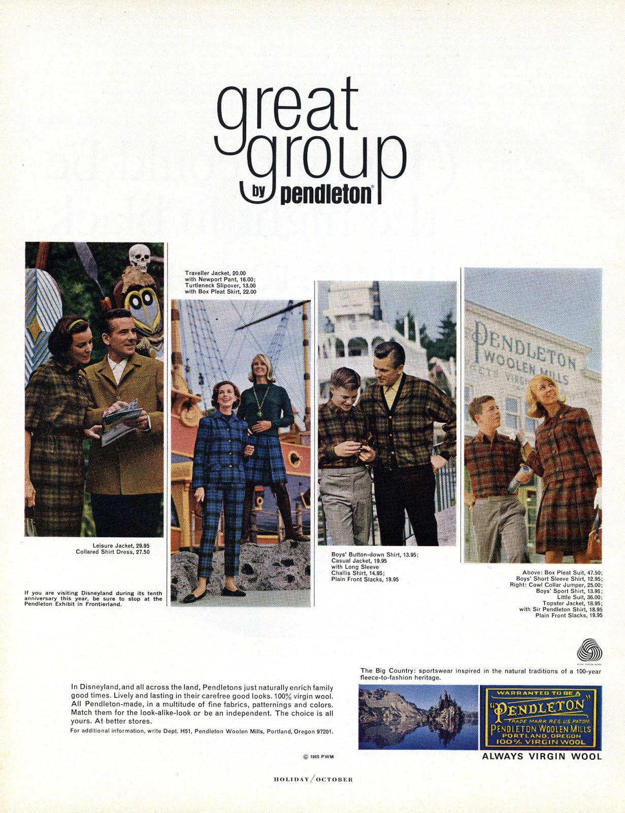 A 1965 Pendleton ad featruring various family members dressed alike in Pendleton plaids.