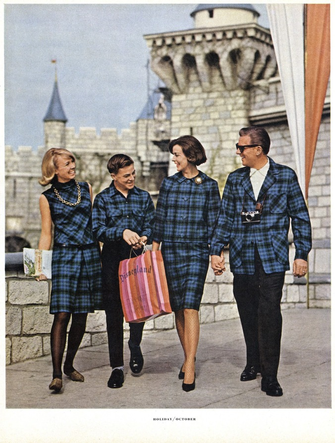 An ad from 1965 featuring a family of four, all wearing the same blue Pendleton plaid.