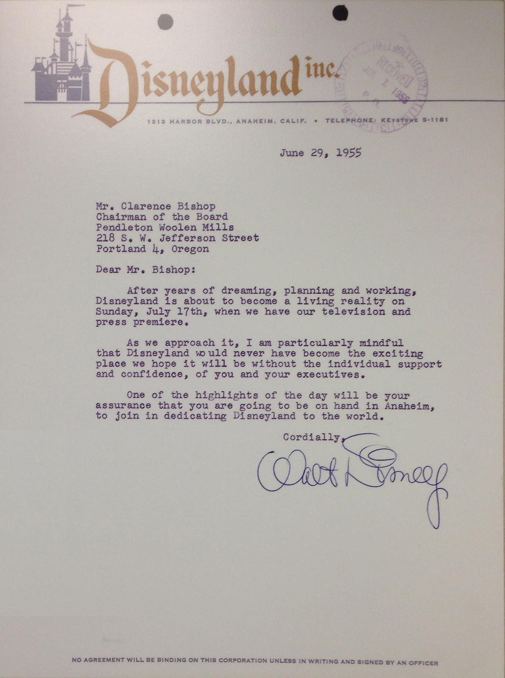 A 1955 letter from Walt Disney to Clarence Morton Bishop.