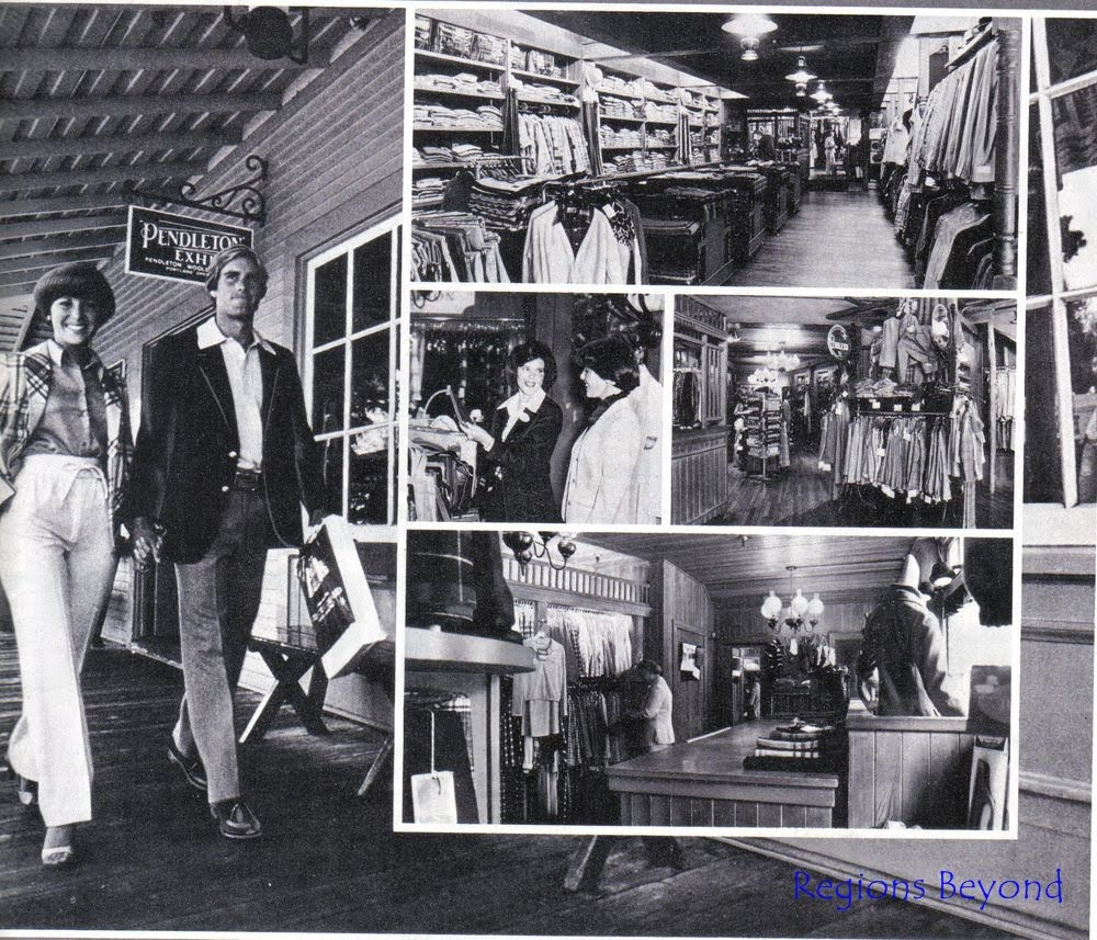 A black and white photo collage that was used in advertising the Pendleton store in Frontierland in the 1980s, showing the Old West interior and racks of merchandise.