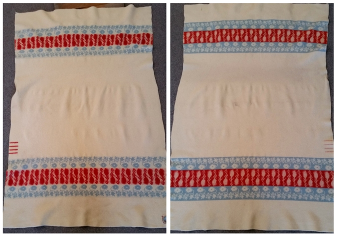 Front and back views of an unusual vintage Rainier National Park blanket, which has bands of wildflowers instead of stripes.
