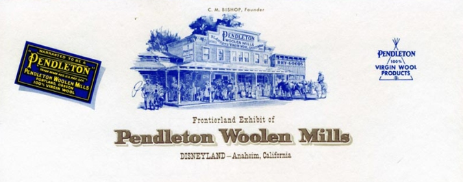 Stationery letterhead for Pendleton WOolen Mills that features a drawing of the Pendleton store in Frontierland.