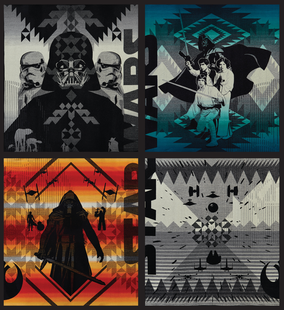 All 4 full-sized Star Wars blankets, shown as a full set.