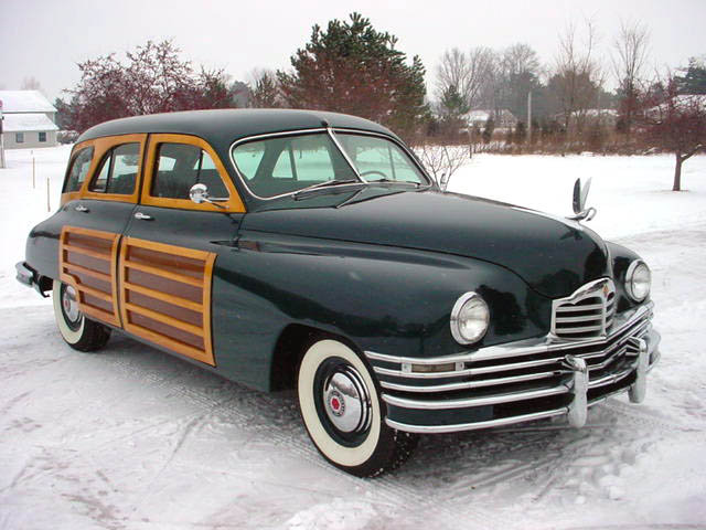 1948 Packard 8 Station Wagon Woodie Woody, parked in the snow