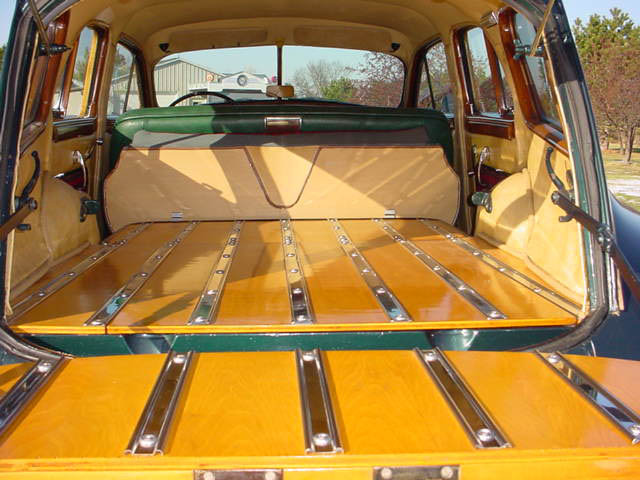 1948 Packard 8 Station Wagon Woodie Woody, interior of rear compartment