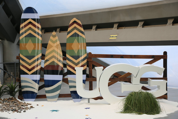 UGG and Pendleton collaboration surfboards outside the UGG HQ