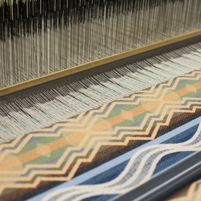 Collaboration fabric on the loom at Pendleton Woolen Mills