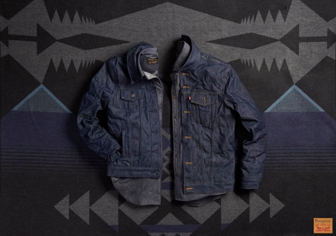 Laydown of two Levis x Pendleton denim jackets