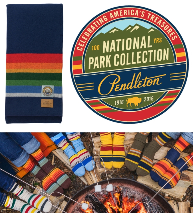 Pendleton national park products: Crater Lake blanket and a group of socks.