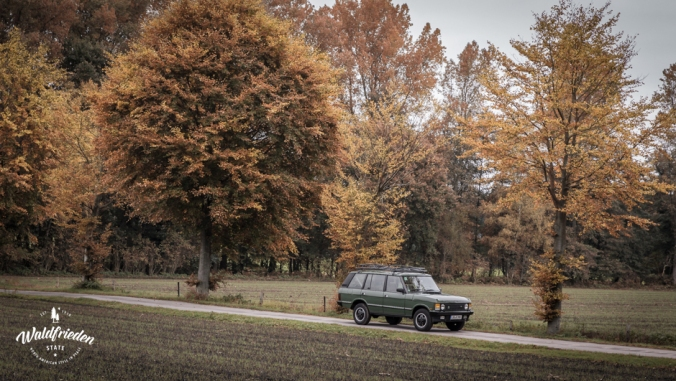 vintage Range Rover on a road