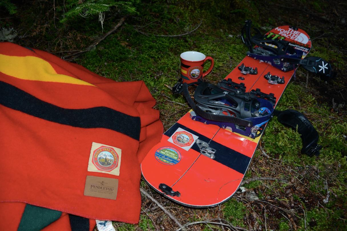 Blanket and snowboard in Mount Rainier.