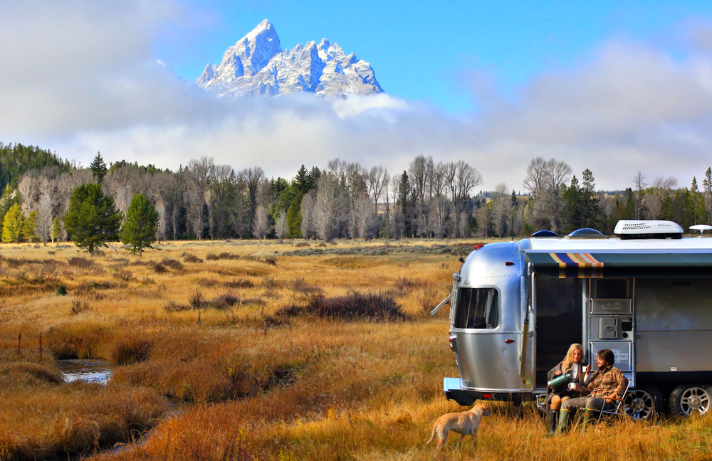 The new Pendleton Airstream camper parked in front of mountains