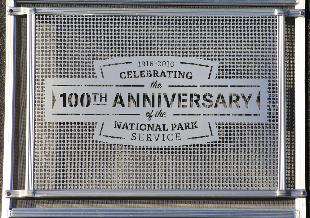 Screen detail calling out the 100th anniversay of the National park Service