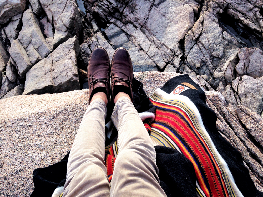 Karlov - Feet, boulders, and the Acadia National park blanket.
