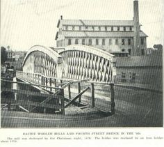 A vintage (and somewhat blurry) historical photo of the Racine Woolen Mill.
