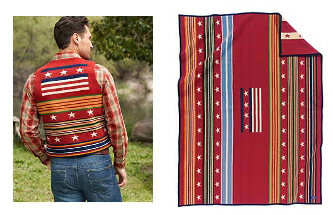 A side by side view of the Pendleton Grateful Nation vest, and the Pendleton Grateful Nation blanket.